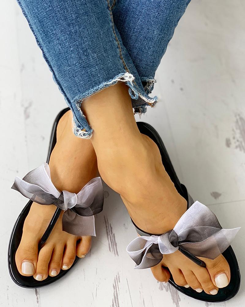 Bowknot Design Toe Post Sandals