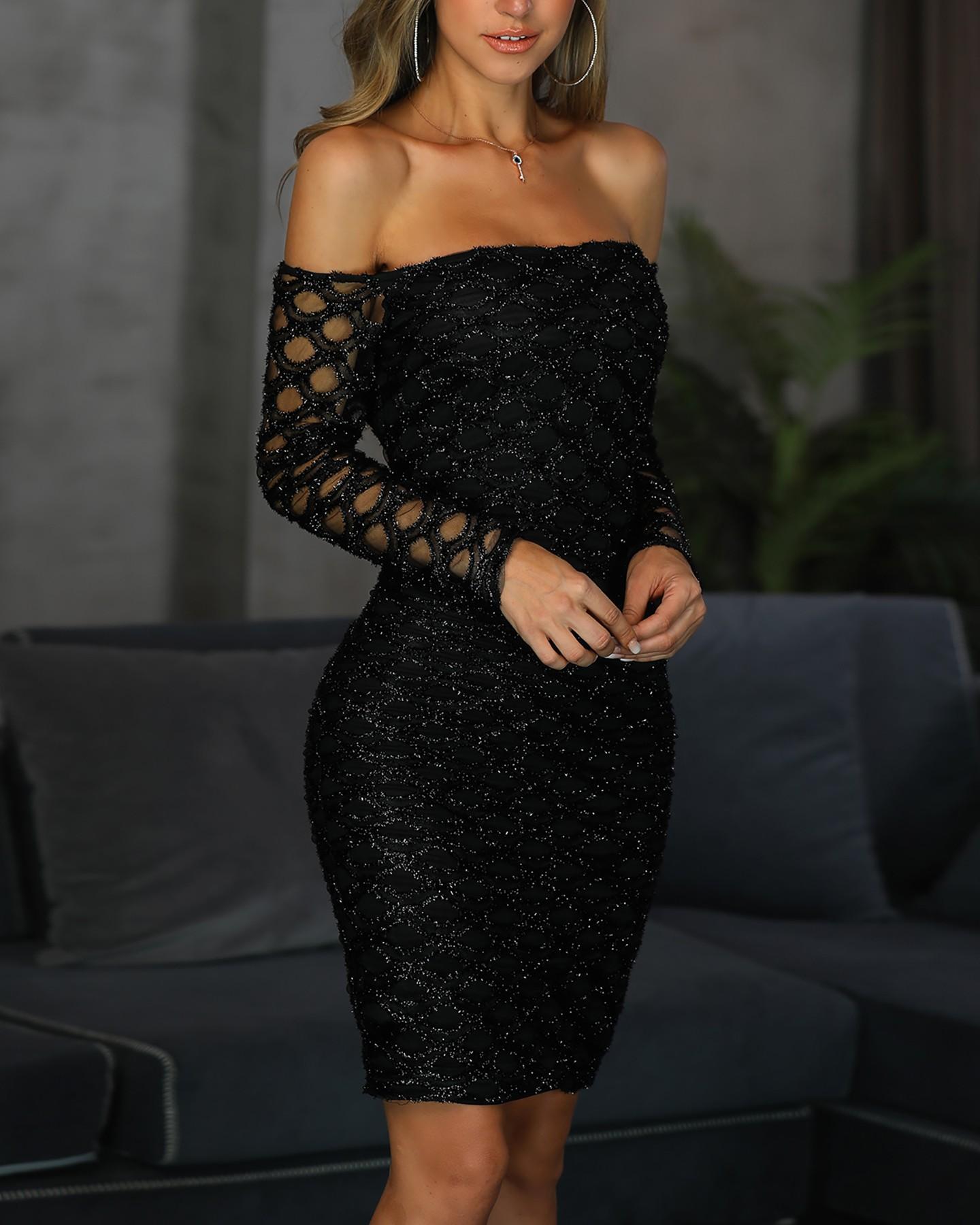 19989e02a8da Glitter Off Shoulder Fishnet Insert Bodycon Dress Online. Discover hottest  trend fashion at chicme.com