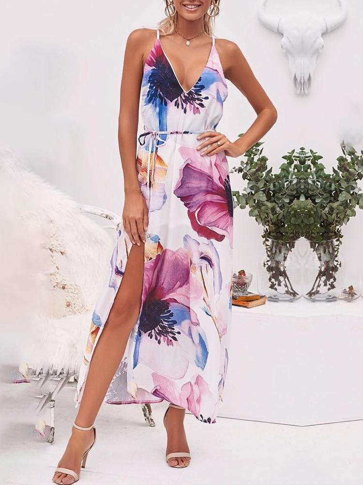Floral Print Spaghetti Strap Slit Maxi Dress