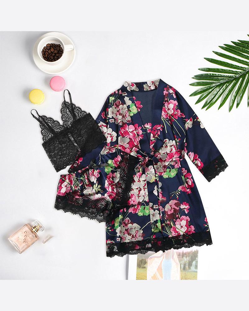 Floral Print 3-Piece Pajama Set