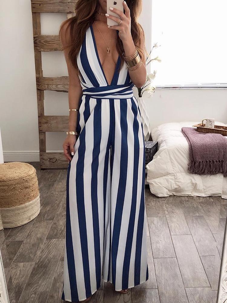 Halter Backless Vertical Striped Jumpsuit