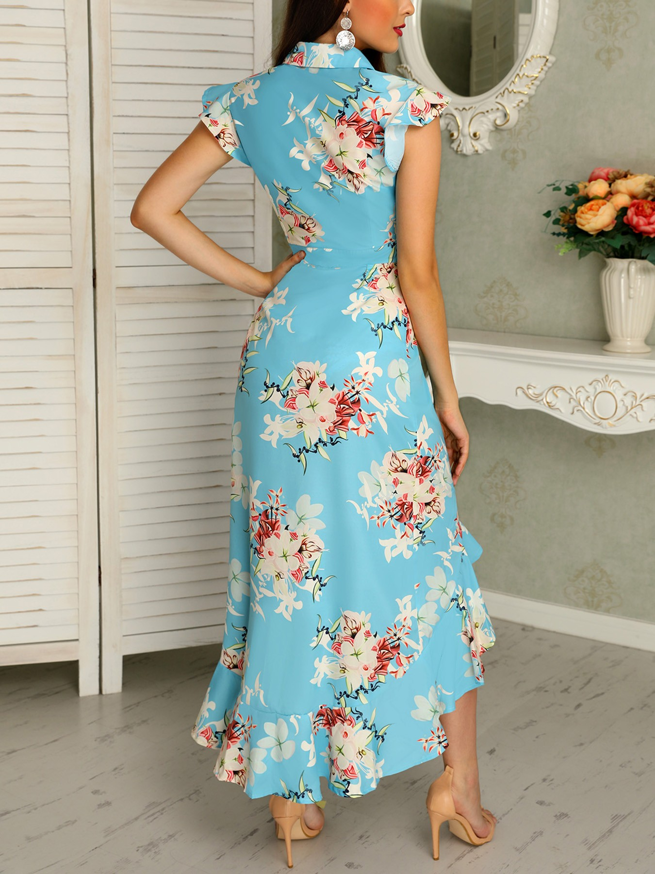 boutiquefeel / Floral Print Ruffled Dip Hem Maxi Dress
