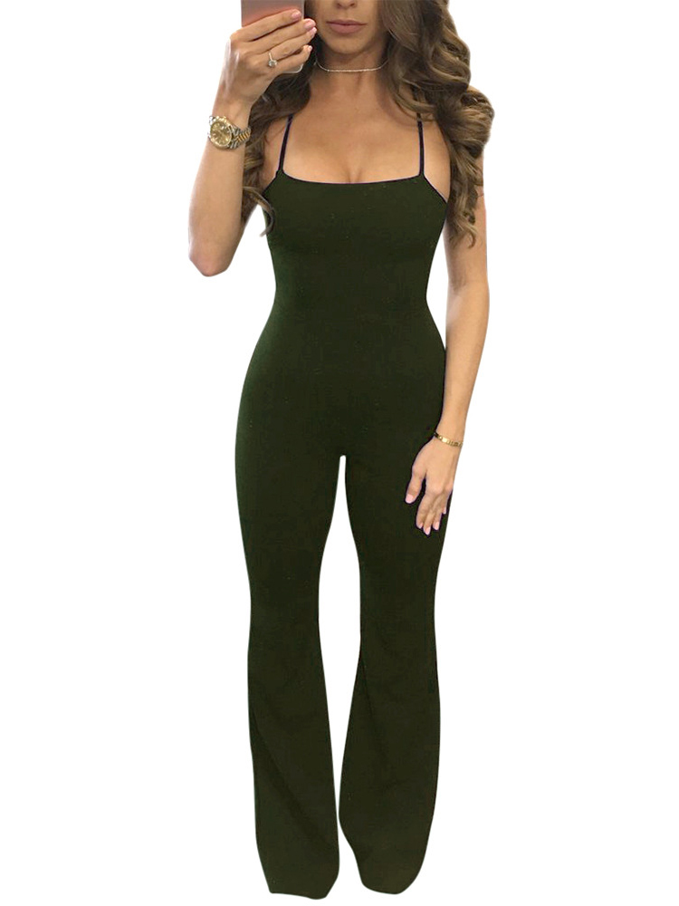 da2d29354d9c Stylish Lace-up Open Back Flared Jumpsuit Online. Discover hottest trend  fashion at chicme.com