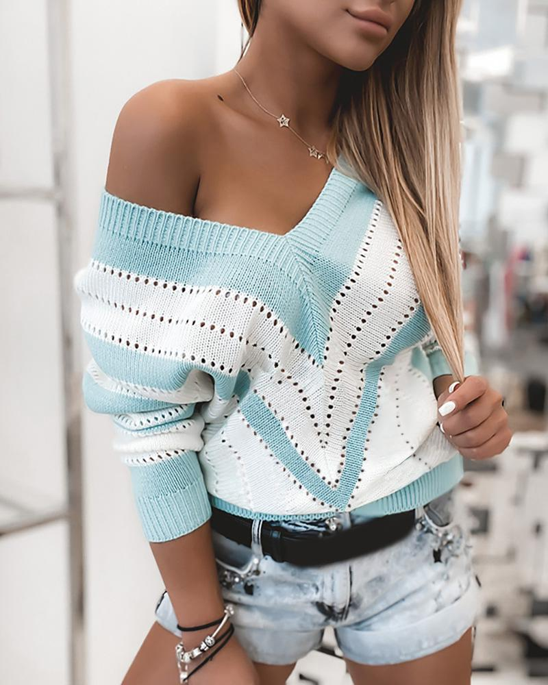 Colorblock Hollow Out Knit Casual Sweater thumbnail