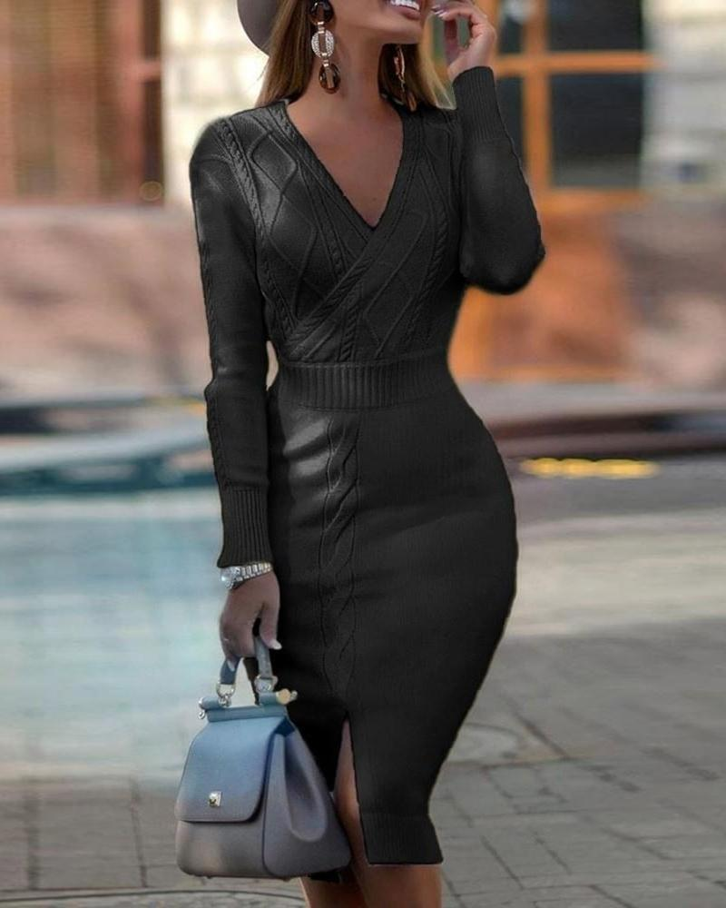 Braided Slit Long Sleeve Dress