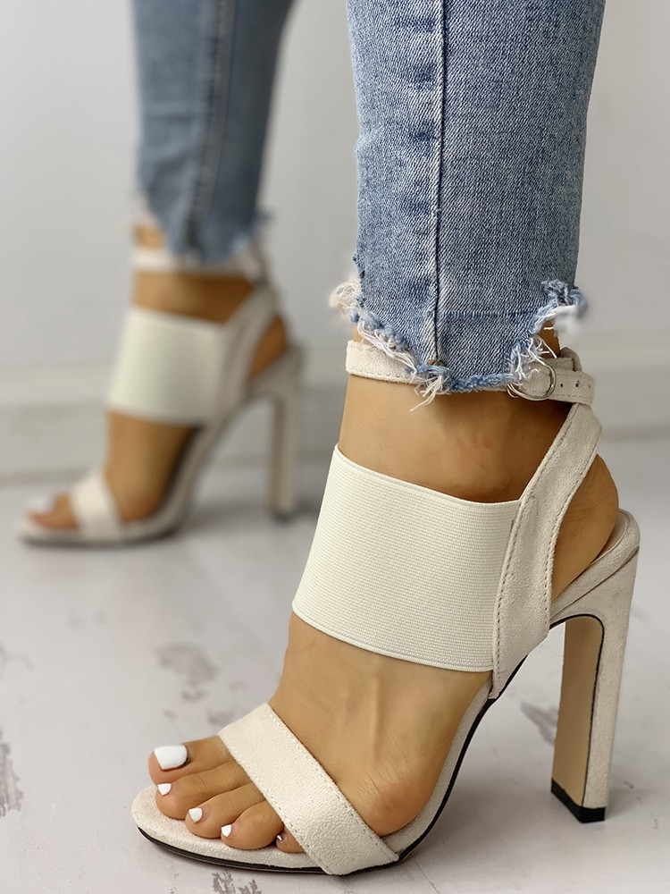 boutiquefeel / Open Toe Elastic Strap Heeled Sandals