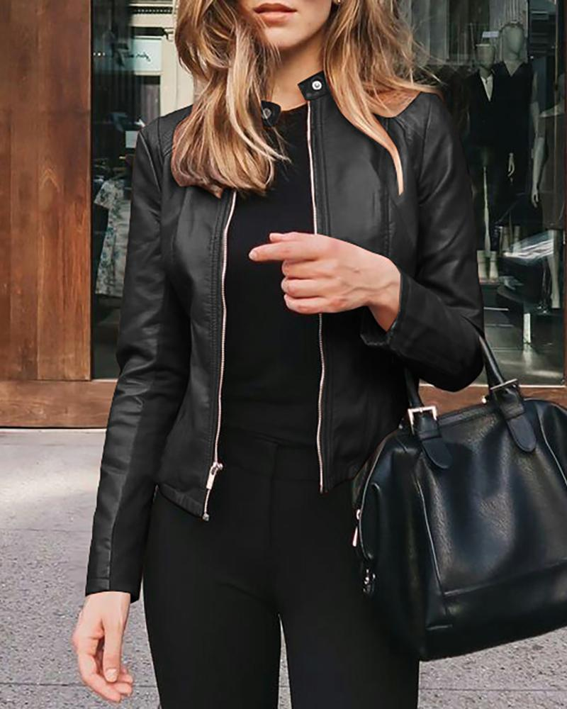Zipper Design Solid Long Sleeve PU Leather Jacket thumbnail