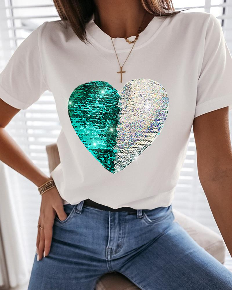 Heart Pattern Sequins Casual T-shirt thumbnail