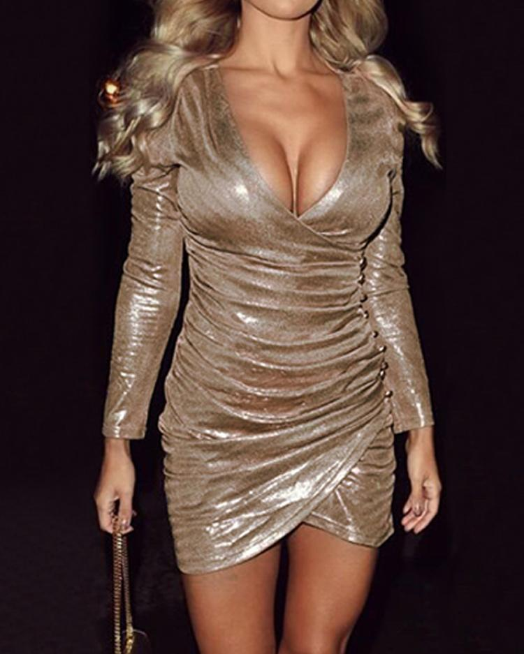 f097da09fa9 Metallic Ruched Overlap Party Dress Online. Discover hottest trend ...