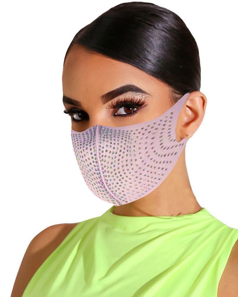 Bling Rhinestone Animal Pattern Face Mask thumbnail