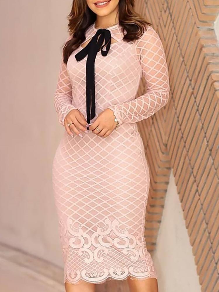 Geo Lace Trim Tie Neck Long Sleeve Dress