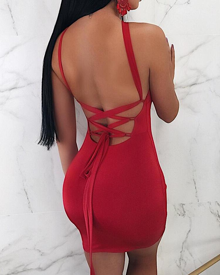 Joyshoetique coupon: Halter Strappy Back Red Mini Party Dress