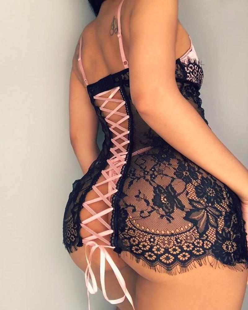See Through Lace Insert Lace-up Back Babydoll thumbnail