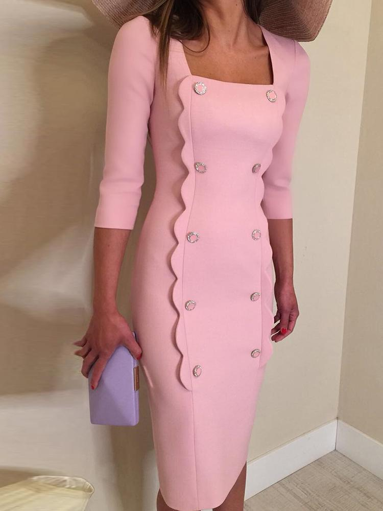 Square Neck Double Breasted Slit Dress