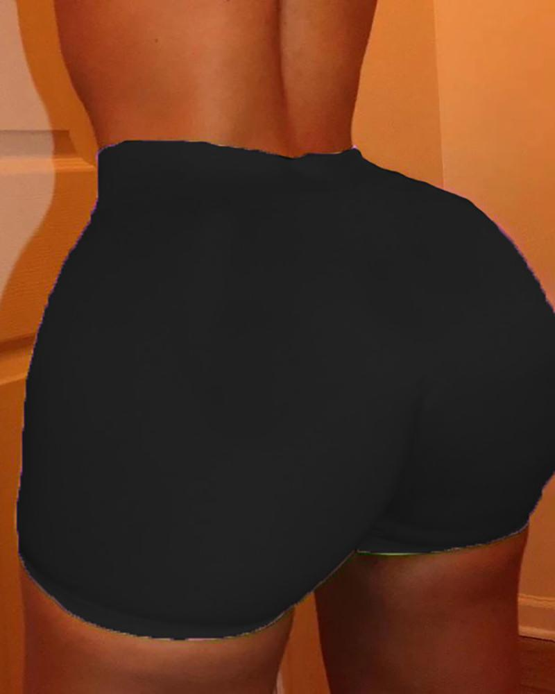 Solid High Waist Fitted Casual Shorts thumbnail