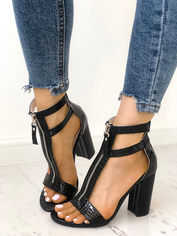 boutiquefeel / Zipper Hollow Out  Peep Toe Chunky Heeled Sandals