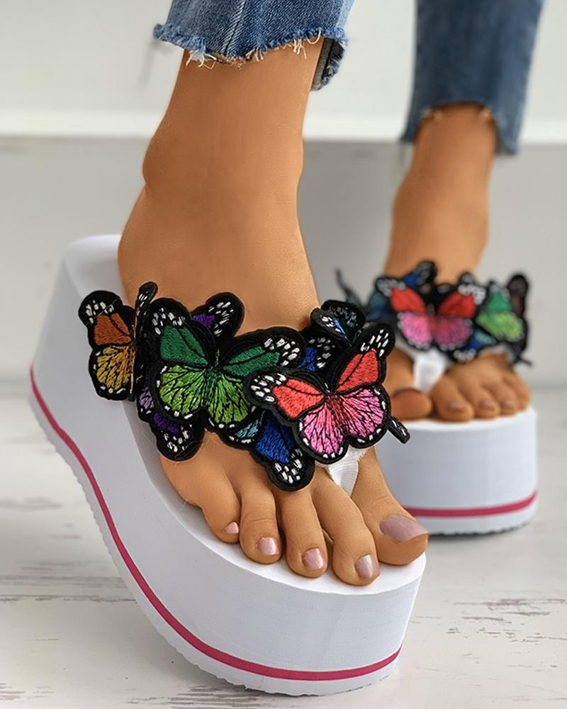 Butterfly Pattern Toe Post Wedge Heeled Sandals thumbnail