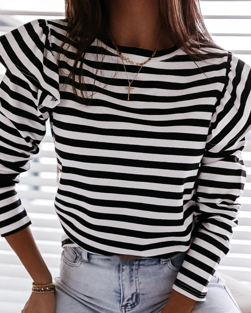 Striped Long Sleeve Casual Top thumbnail
