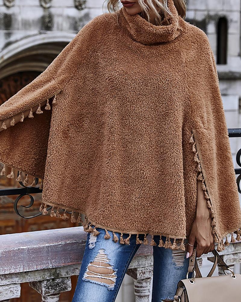 Fluffy Cape Sleeve Tassel Design Sweater thumbnail