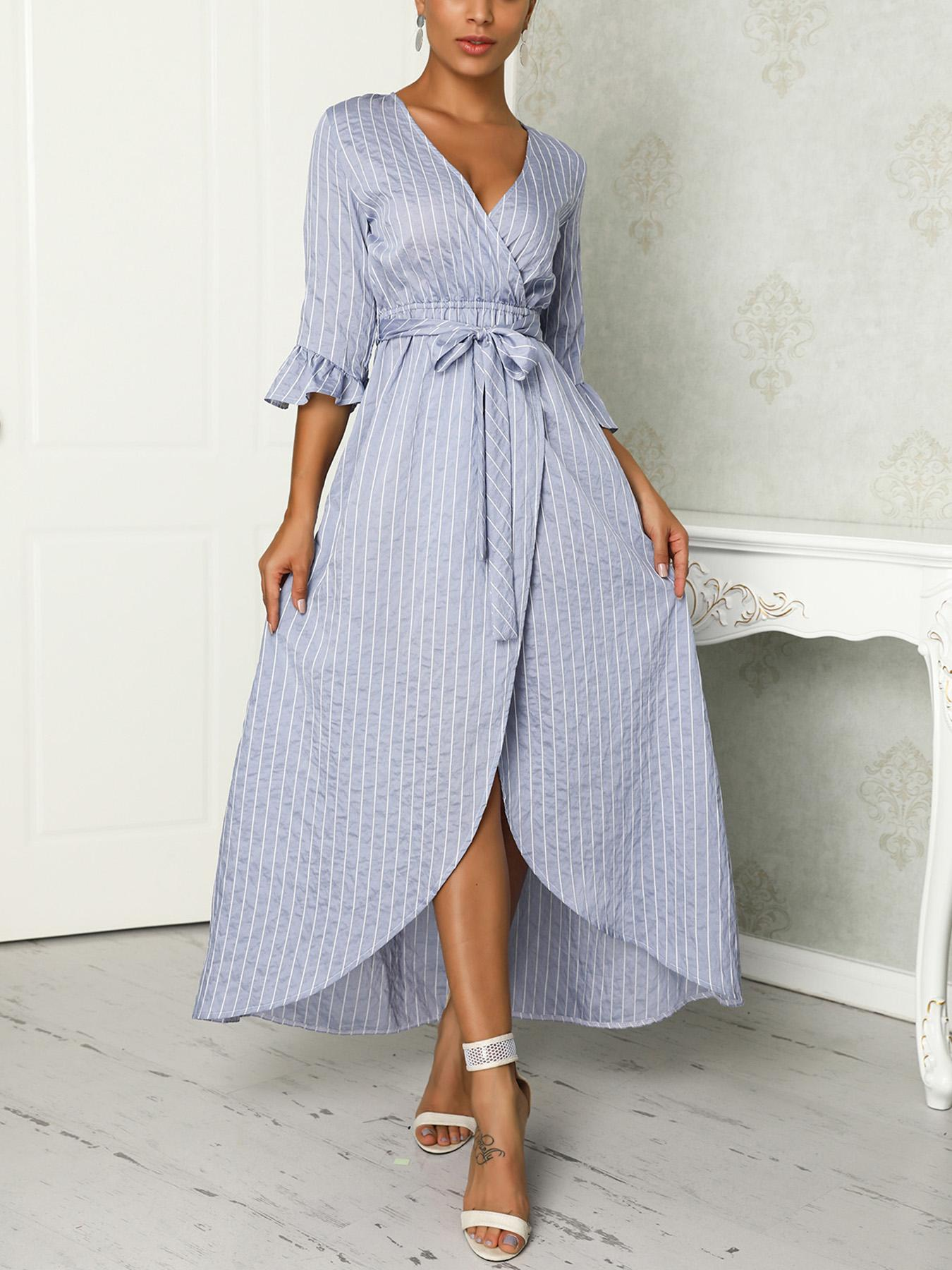 Stripes Ruffles Sleeve Belted Irregular Wrap Dress