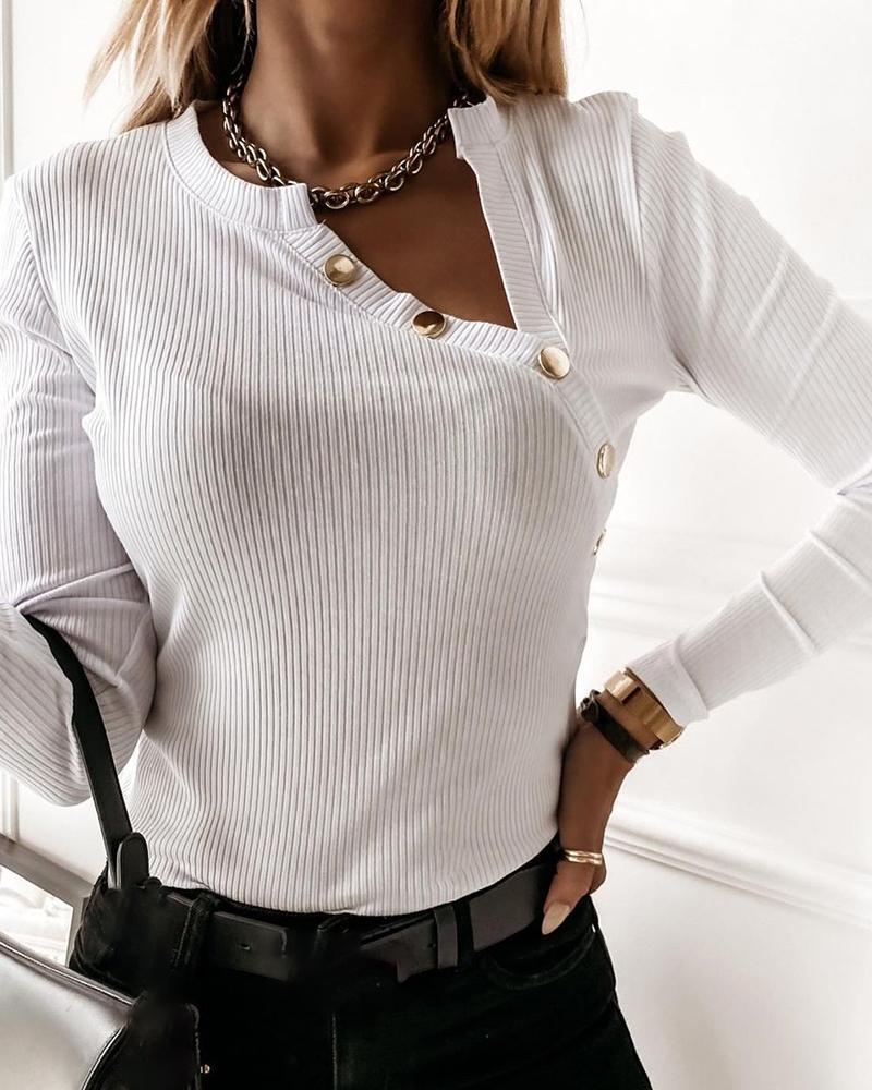 Button Design Slit Long Sleeve T-shirt