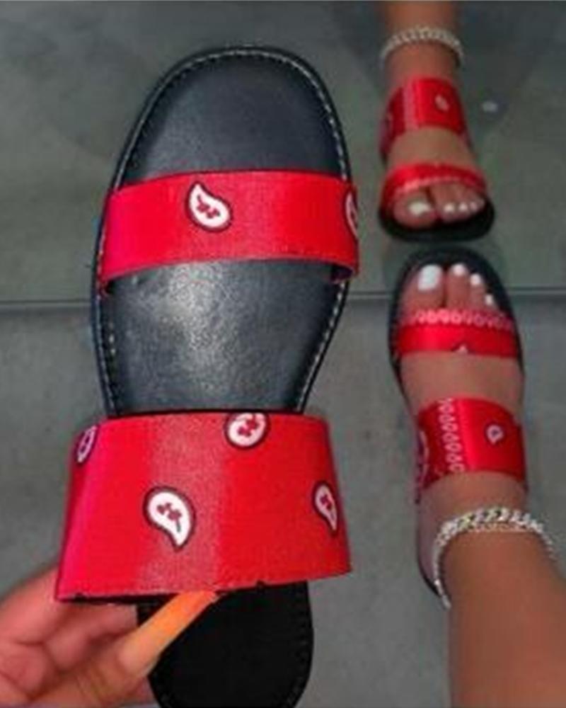 Multicolor Ribbons Upper Open Toe Flat Sandals