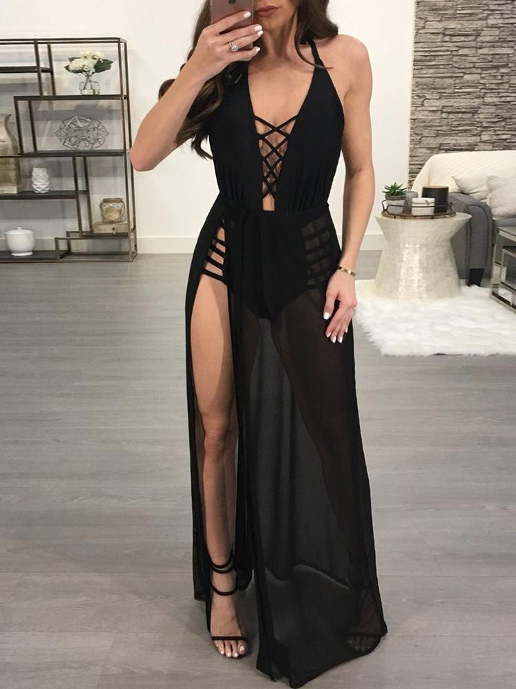 e356c7128df4c Sheer Mesh Lace Up Backless Maxi Romper Dress Online. Discover hottest  trend fashion at chicme.com