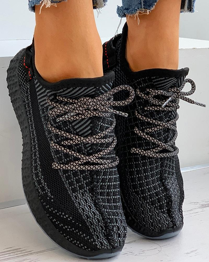 Net Surface Lace-up Casual Sneakers thumbnail