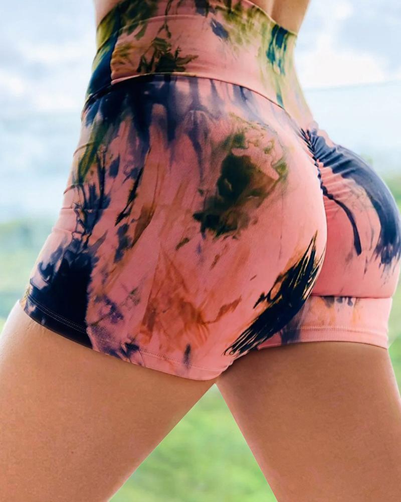 High Waist Tie Dye Print Ruched Yoga Shorts