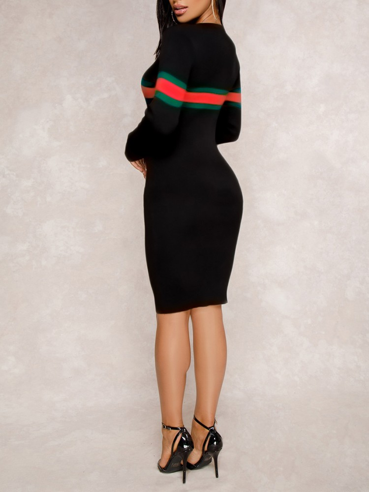 boutiquefeel / Striped Tape Long Sleeve Bodycon Dress