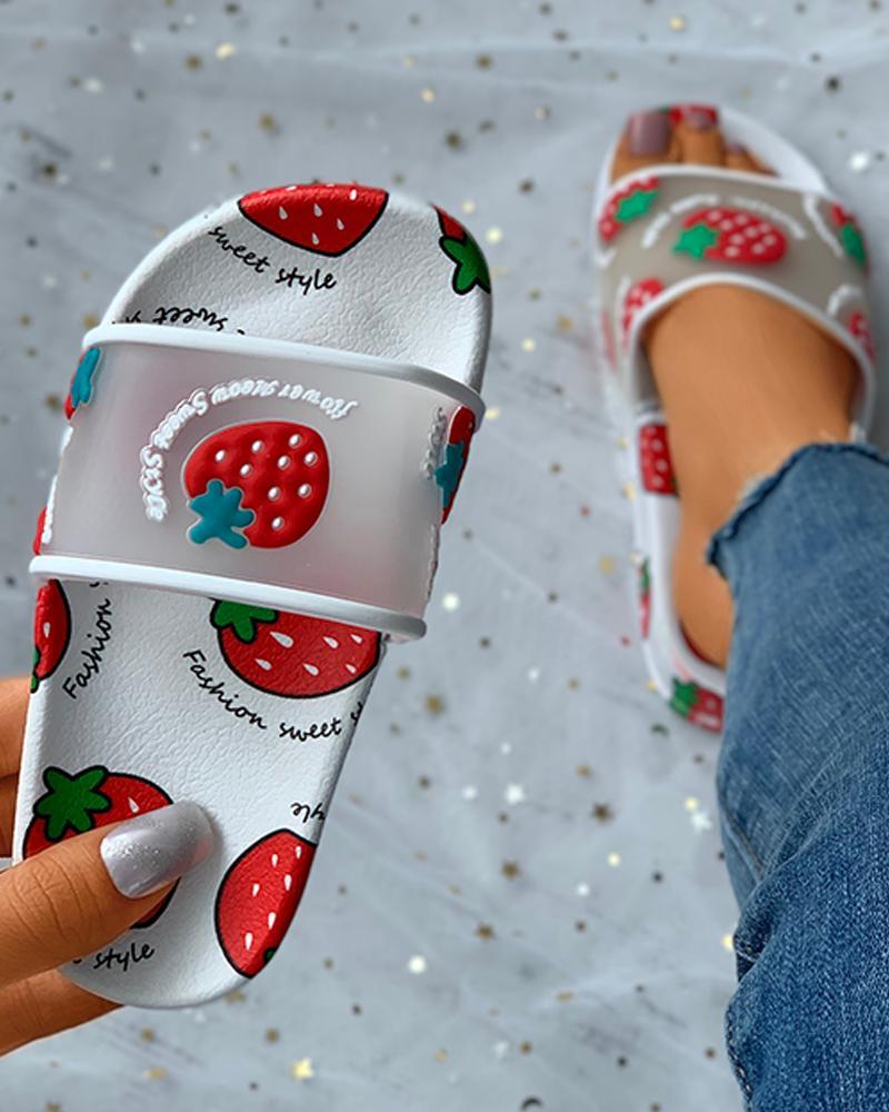 Fruit Letter Pattern Slider Sandals For Childrens thumbnail
