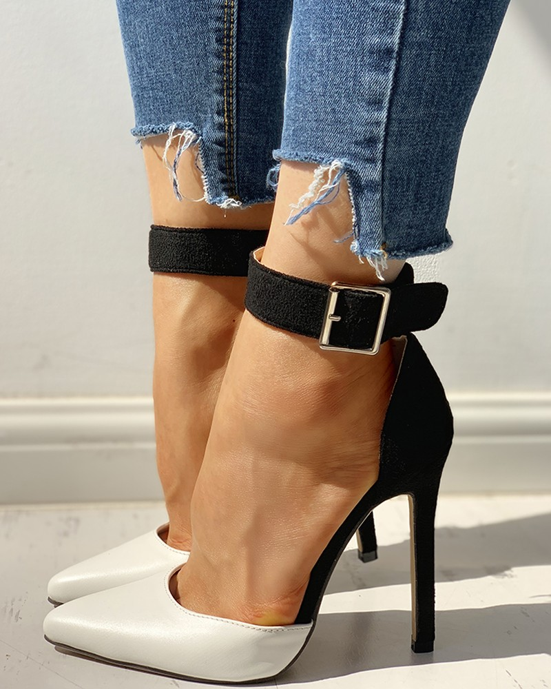 Pointed Toe Heels Ankle Strap