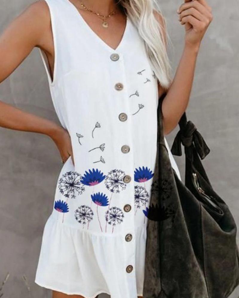 Dandelion Print Sleeveless Ruffle Hem Mini Dress, White