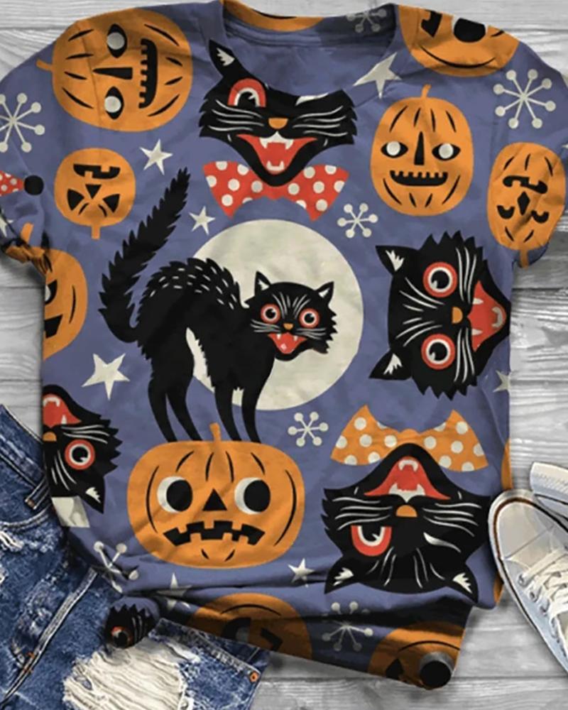 Halloween Pumpkin Cat Print Casual T-shirt thumbnail