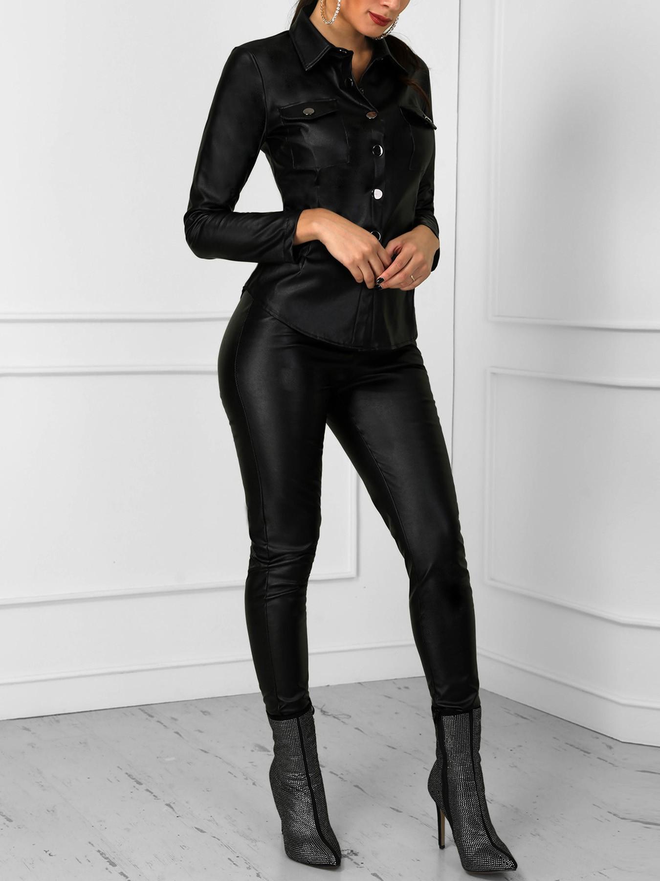 boutiquefeel / PU Long Sleeve Blouse & Skinny Pants Set