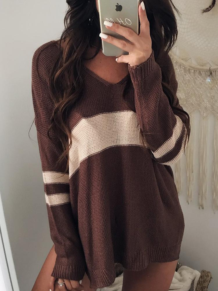 Joyshoetique coupon: Contrast Stripes V Neck Casual Sweater - Brown