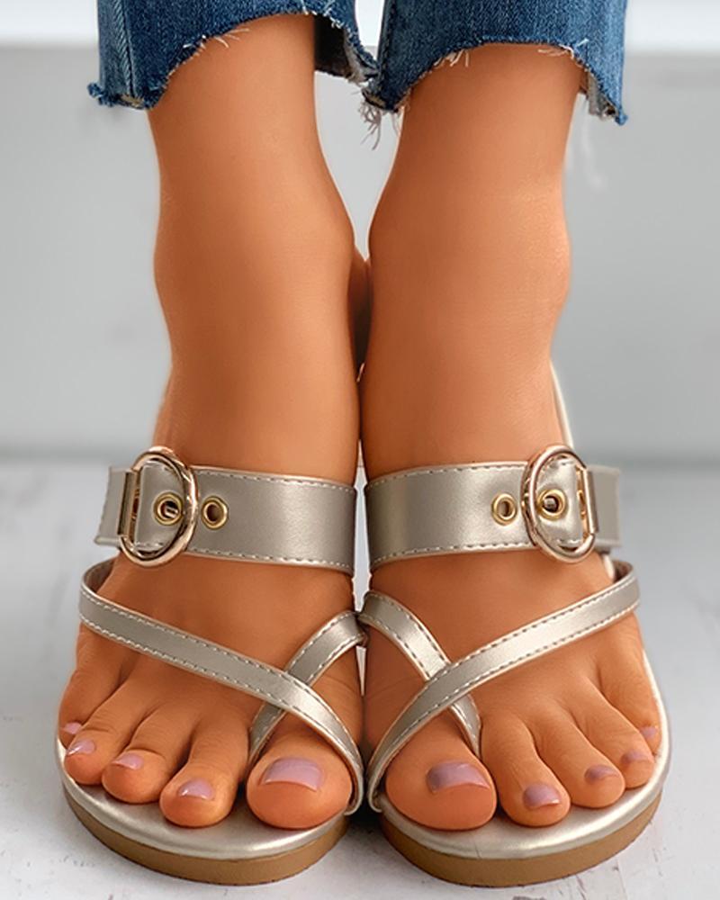 Crisscross Toe Ring Buckle Detail Flat Sandals thumbnail