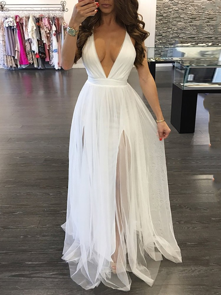 Sexy Pleated Mesh Maxi Plunge Dress