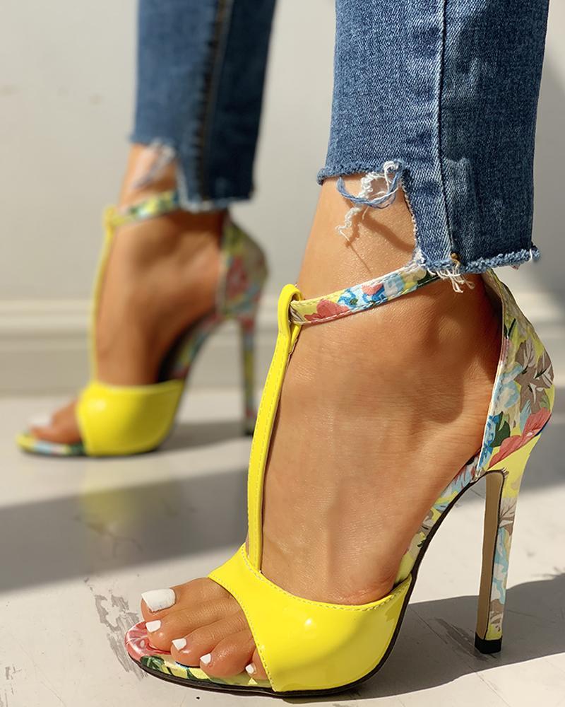 chicme / Contrast Color Floral Splicing Ankle Strap Heeled Sandals