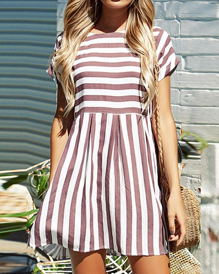 Ivrose coupon: Striped Short Sleeve Casual Tunic Dress