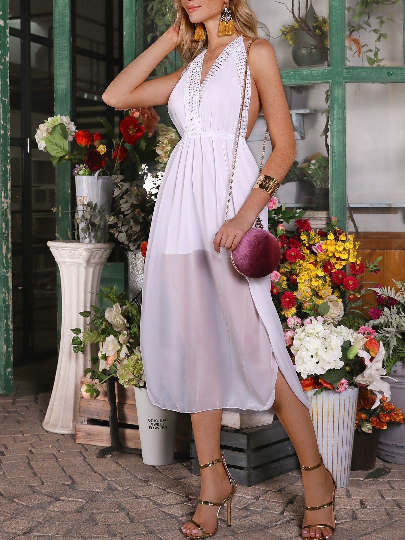 boutiquefeel / Hollow Out Halter Side Slit Backless Casual Dress