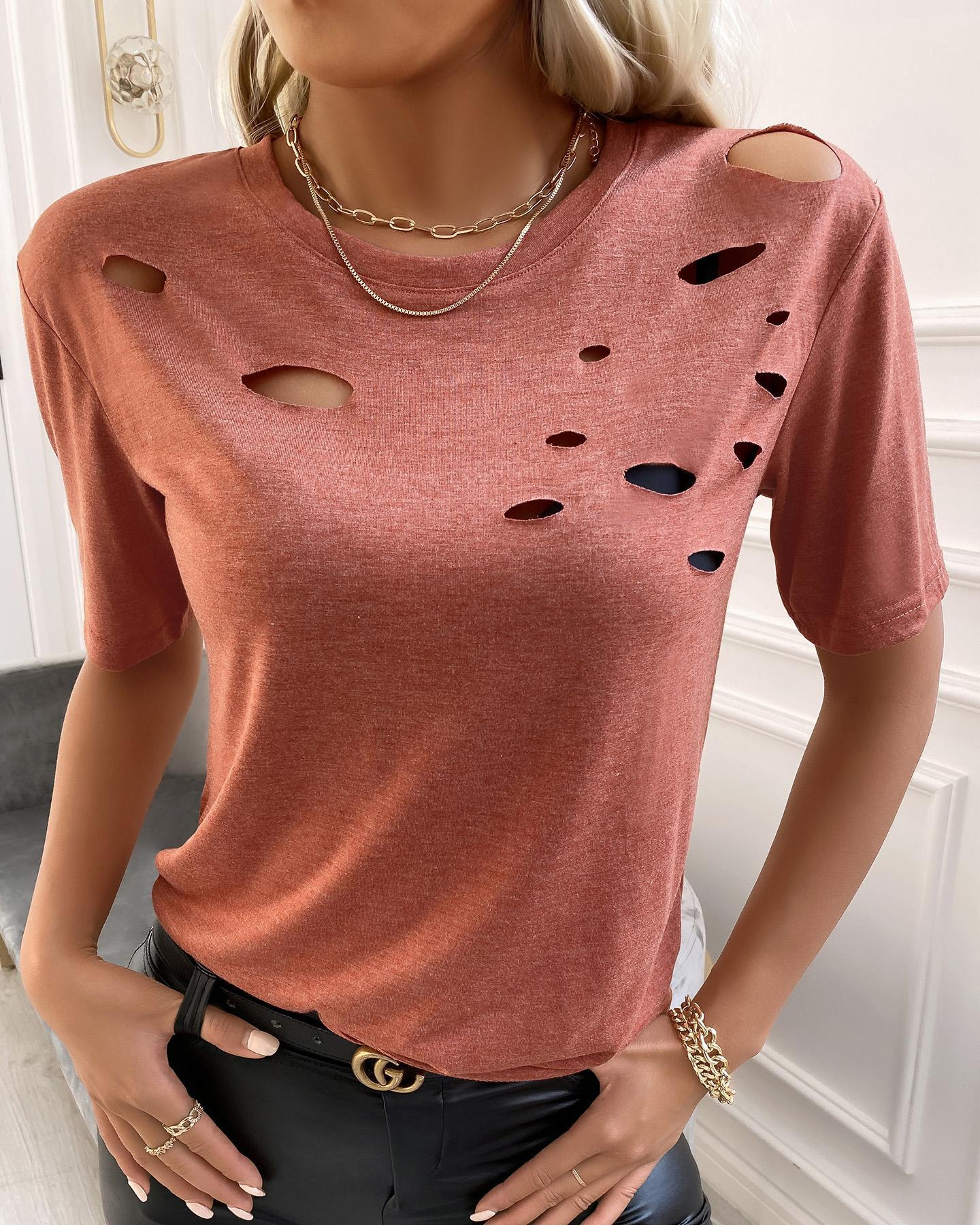 Cutout Short Sleeve Plain T-shirt