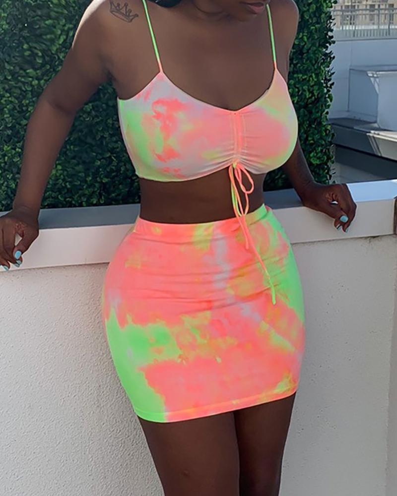 Tie Dye Print Drawstring Top & Skirt Sets thumbnail