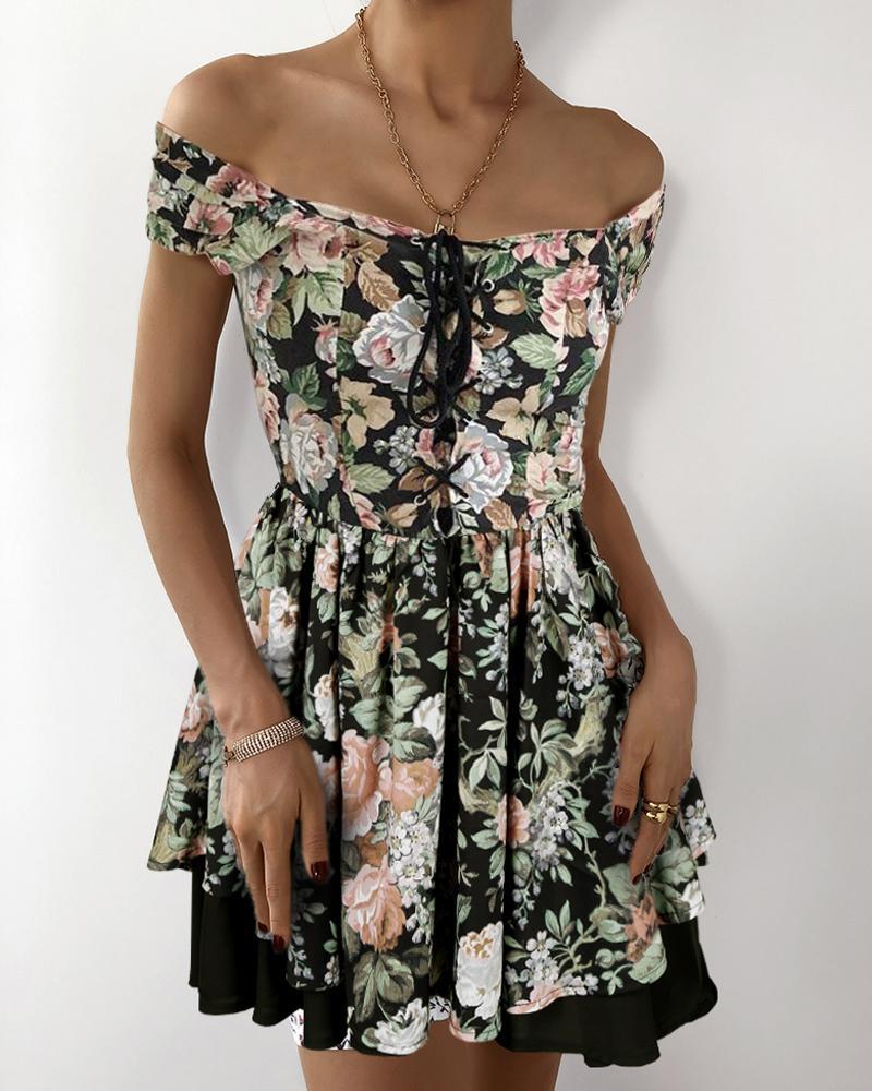 Eyelet Lace-up Off Shoulder Floral Print Dress thumbnail