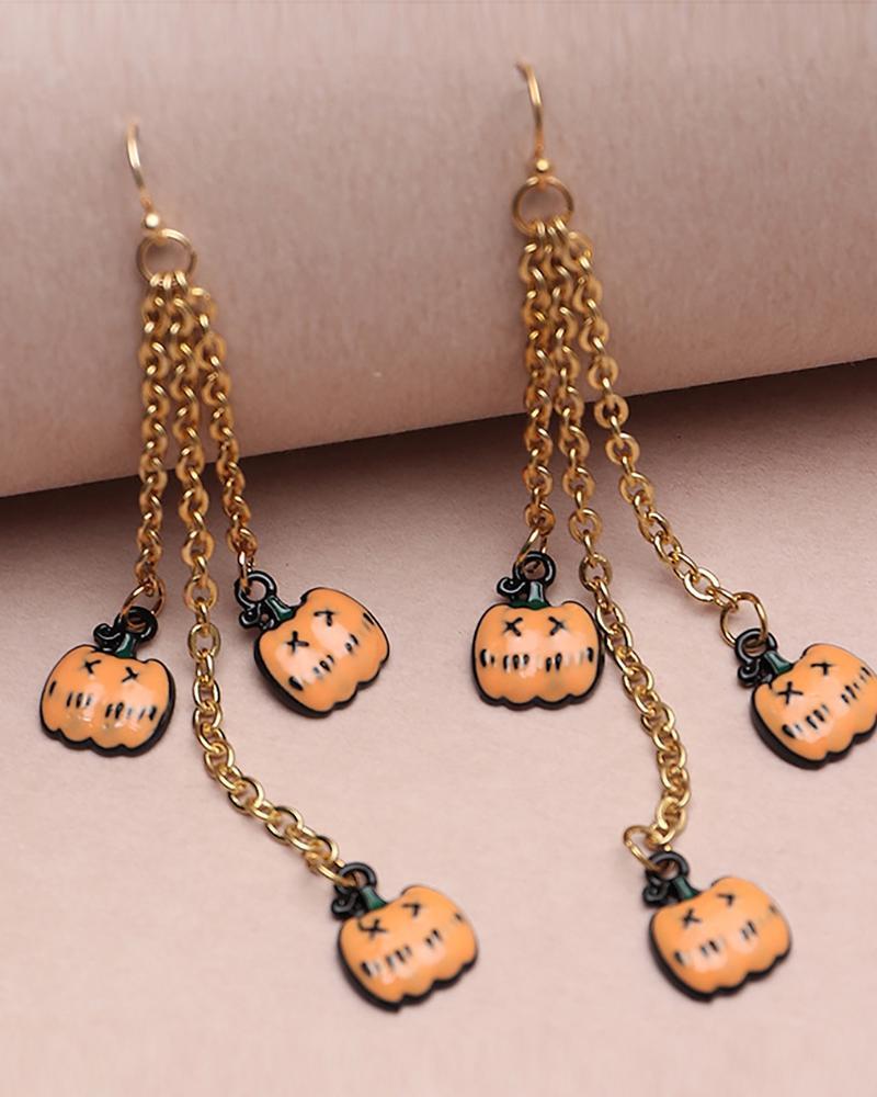 Halloween Pumpkin Pattern Chain Drop Earring thumbnail