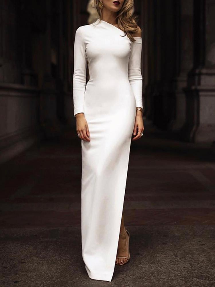 boutiquefeel / Solid One Shoulder Side Slit Bodycon Dress