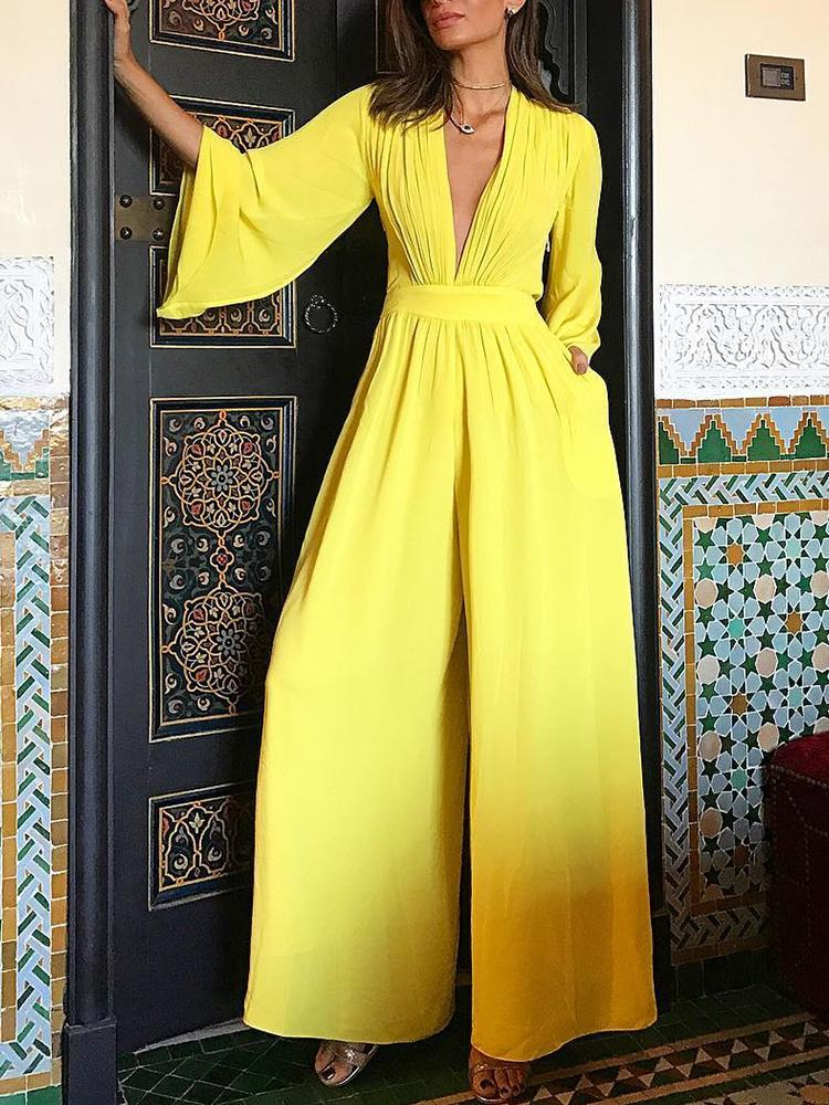 Ruched Plunge Flared Sleeve Wide Leg Jumpsuit