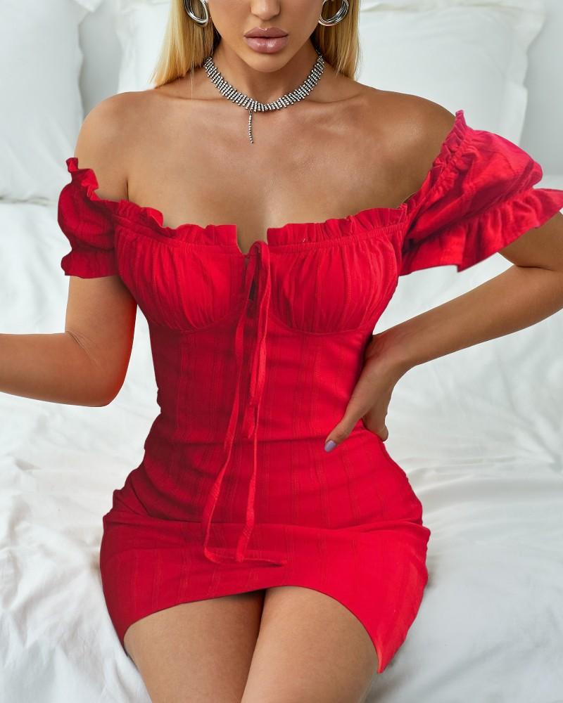 Off Shoulder Smocked Bodycon Dress