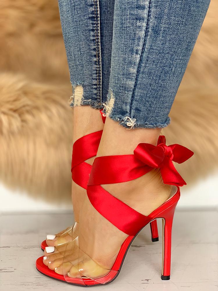 Crisscross Transparent Strap Bow Sandals
