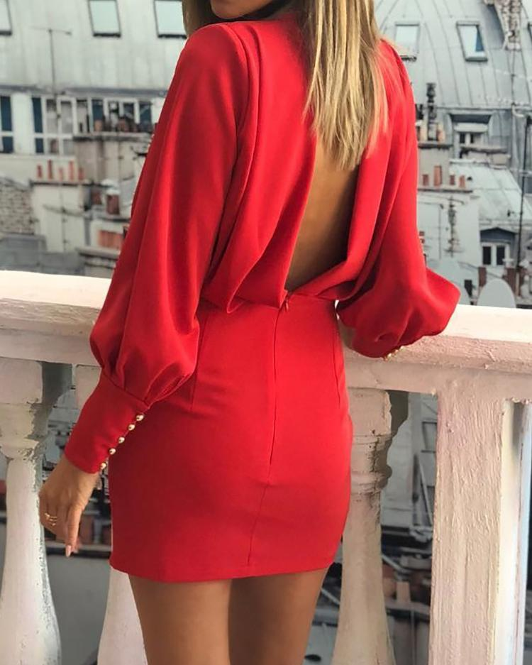 Lantern Sleeve Open Back Ruched Bodycon Dress